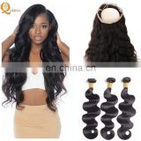 Mink Brazilian Hair Human 360 Closure Frontal 360 Lace Frontal Closure Bundles Body Weave
