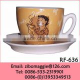 Cartoon Designed Promotional Hot Sale Coffee and Tea White Porcelain Cup and Saucer for Tableware