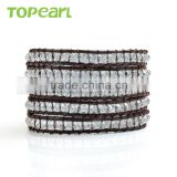 Topearl Jewelry Faceted White Crystal Charm Bracelet Woven Leather Wrap Bangle 33.5 Inches CLL137