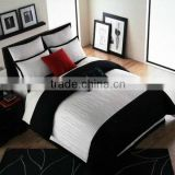 4pcs Embroidery Patchwork Stripe Cotton Comforter Sets 205TC King Size White Black Color