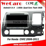 "Wecaro android 4.4.4 car stereo Dashboard Placement 8"" car dvd gps for honda civic USB SD TV tuner right hand 2006 - 2011"