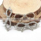 JF8512 Wholesale Rhinestone Crystal Pave Alloy Bow Charm connector For Bracelet