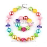 Wholesale Rainbow Chunky Necklace Pink Rainbow Bubble Gum Necklace Latest design beads Necklace for Baby                                                                                                         Supplier's Choice