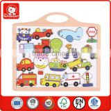 2015 fashion magic christmas gift wooden kids cars in a small write board can move and write fridge magnet