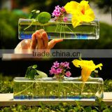Square Shaped Clear Glass Vase For Home Decoration