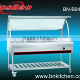 Assembled electric bain marie trolley with curved glass shelf