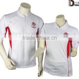 Custom made promotional polo shirt 100% polyester new design polo t-shirt white and red quick dry polo shirt