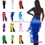 2016 Hot Sale Belly Dancing Chiffon Hip Belts Belly Dance Long Tassel Waist Hip Scarf Dance Costume Accessories 12 Colors