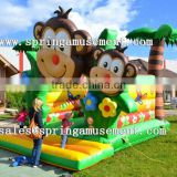 2015 best popular lovely mother and baby monkey model inflatable bouncy castle, jumping castle SP-AB024