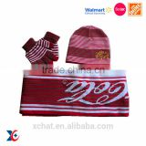Professional technology design your own knitted hat scarf attached knitted set