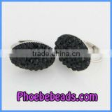 Fashion Black Rhinestone Pave Silver Plated Base Girls Clip On Earrings PEA09