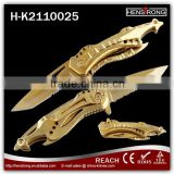 Fashionable golden color hand-operated survival foldable Knife                                                                         Quality Choice