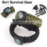 DIHAO Outdoor 5 in 1 Travel Watch with Fire Starter Paracord Compass Whistle Rescue Bracelet