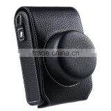 Factory price black leather Camera Bag with strap in Dongguan
