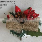 Christmas Decorations red berries small pick with natural color burlap for christmas three wreath decorations
