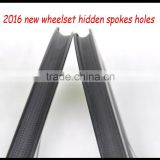 new arrival 700c bicycle carbon rims 56mm hidden spokes wide 27mm clincher wheelset toray carbon rims