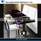 Portable Restaurant Desk Resin Artificial Marble Modern Dining Room Table Resin Stone White Square Coffee Table
