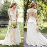 (MY3049) MARRY YOU A-line Elgant Cap Sleeve Lace Transprant Back Chiffon Beach Wedding Dress 2016
