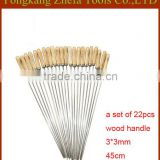 22 pieces wood handle bbq rotisserie tools set rotating skewer for sale 3*3mm                                                                         Quality Choice