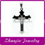 Hot Sell Religious Christ Jewelry 316L Stainless Steel Three Layers Father Jesus Crucifix Cross Pendant Charm With Shiny Stone