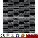 IMARK Black Color Crystal Glass Mosaic Tiles with Ice Crackle Mosaic Tiles for Wall Backsplash Code IVG8-050