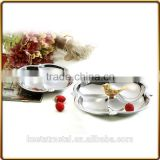 2016 new style chrome plated 4 compartment fruit and food plates for snack and wedding