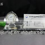 high grade crystal glass ball table clock name card holder for office decoration or gift