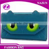2016 screen print small monster cat face green eyes shape designer cartoon lady beautiful wallets with magnet snap closure