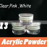 Pink/White/Clear Crystal Polymer Powder For Acrylic UV Gel Nail Art Tip Manicure Clear