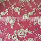 High quality lace embroidery fabric design with hand embroidered beaded tulle fabric for wedding