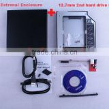 12.7mm SATA 2nd hdd Module Caddy bay +External Superdrive USB Enclosure case