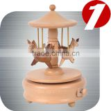 wonderful Horse Carousel Wooden Nature Gift Music Box and base made from real wood