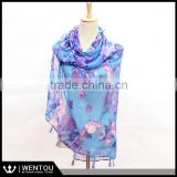 Spring New Arrival Fashion Infinity Tassel Pareo Floral Scarf