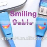 Shine LED Light Visible Smile Face Universal Micro USB Charger Data Sync Cable for Apple Iphone 5 5s micro USB