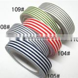 Wholesale YIWU FACTORY Stripe Fabric Washi Tape 15mm wide Decorative Cotton Fabric Tapes Craft Decorative Sticky Cotton Adhesive