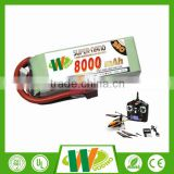 Factory direct 35C-70C 2S 7.4V rc helicopter battery lipo battery 8000mAh lipo battery pack