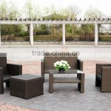5 PC Cushioned Seat Outdoor Patio Set Rattan Wicker Sofa with Foot Stool