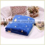 New Pattern Blue and Yellow Moon and Star print Flannel Fleece Blanket Made IN China