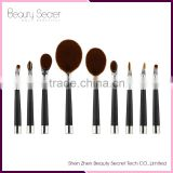 2016 newest silver/gold golf makeup brush tooth makeup brush 9pcs oval makeup brush set/oval bb cream makeup brushes