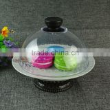 Wholesale Royal Luxury Ceramic Cake Stand For Restaurant Decorating Cake Tools WIth Glass Cover