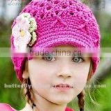 Shocking pink lovely baby crochet hat with flowers New style In stock