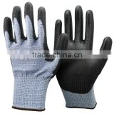 NMSAFETY 13 gauge blue nylon and HPPE and glassfibre liner coated black PU on palm glove