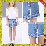 High quality summer cute child girls short denim mini skirt for kid button up fancy jean skirt