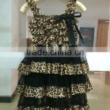 Wholesale top quality leopard christening rustic baby girls lace petti dress M5061813