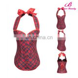 Red grid big girl sexy corset,body shaper young girls corset