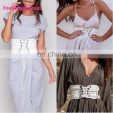 Hot Women Bandage Shape-Making Lace Up White Belt Fashion Wide Waist Belt Women