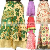 Silk Sari Patchwork double layered and Reversible wrap-skirt Magic Around skirts Indian Vintage dress beach wear Wraparound