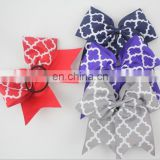 Quatrefoil printed grosgrain cheer bows