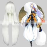 High Quality 100cm Long Straight White Touhou Project Cosplay Hair Wigs Fujiwara no Mokou Synthetic Anime Cosplay Wig Party Wig