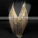 latest jewelry fashion Alloy gold charming chain tassel wholesale chunky statement necklace                                                                         Quality Choice